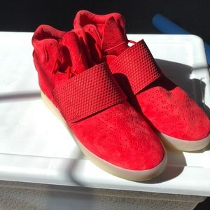 Red Adidas Tubular Sneakers